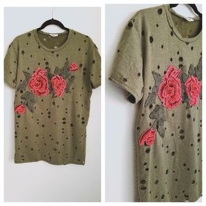 Anthropologie Distressed Embroidered Rose Top